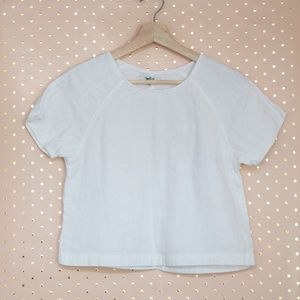 Madewell Raglan White Cropped Top size XS